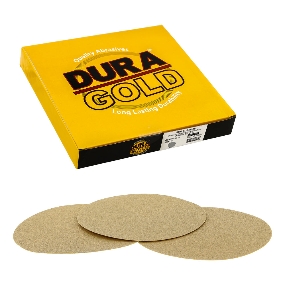 "80 Grit - 8"" Gold PSA Self Adhesive Stickyback Sanding Discs for DA Sanders - Box of 10"