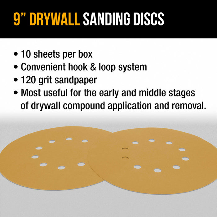 "Dura-Gold Premium 9"" Drywall Sanding Discs - 120 Grit (Box of 10) - 10 Hole Pattern Hook & Loop Aluminum Oxide Sandpaper - For Power Sander, Sand Wood"