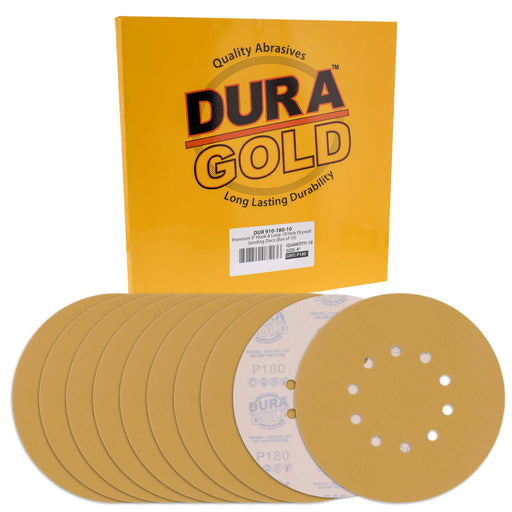 "Dura-Gold Premium 9"" Drywall Sanding Discs - 180 Grit (Box of 10) - 10 Hole Pattern Hook & Loop Aluminum Oxide Sandpaper - For Power Sander, Sand Wood"