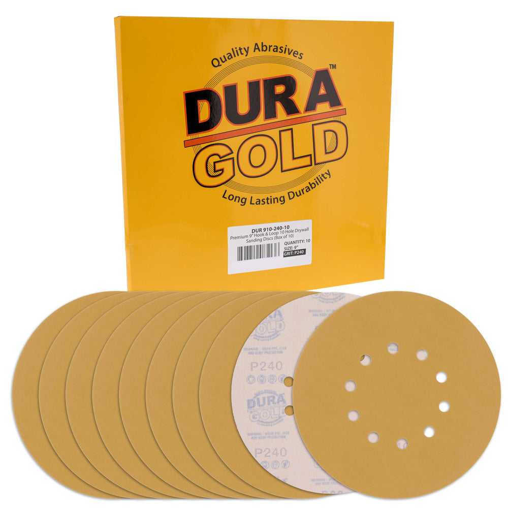 "Dura-Gold Premium 9"" Drywall Sanding Discs - 240 Grit (Box of 10) - 10 Hole Pattern Hook & Loop Aluminum Oxide Sandpaper - For Power Sander, Sand Wood"