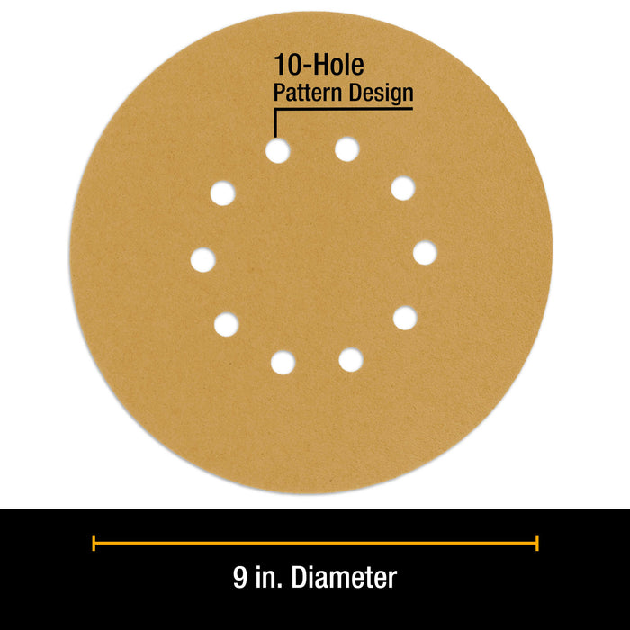 "Dura-Gold Premium 9"" Drywall Sanding Discs - 60 Grit (Box of 10) - 10 Hole Pattern Hook & Loop Aluminum Oxide Sandpaper - For Power Sander, Sand Wood"