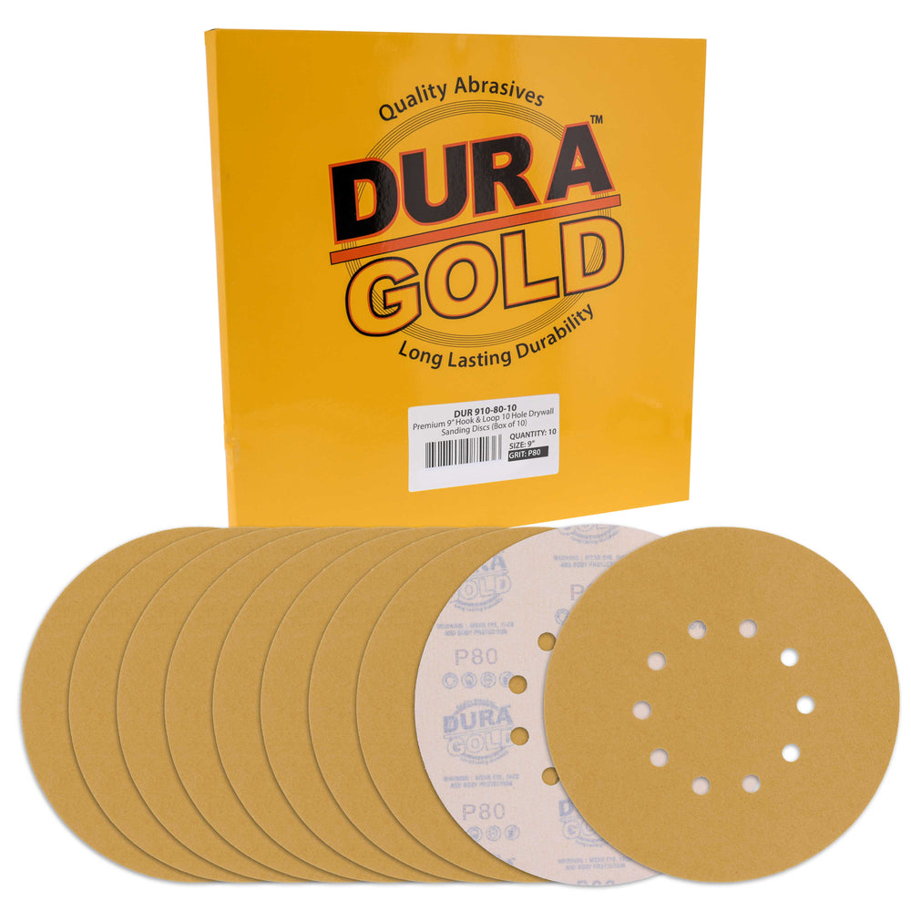 "Dura-Gold Premium 9"" Drywall Sanding Discs - 80 Grit (Box of 10) - 10 Hole Pattern Hook & Loop Aluminum Oxide Sandpaper - For Power Sander, Sand Wood"