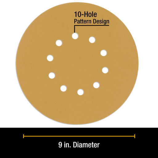 "Dura-Gold Premium 9"" Drywall 10 Hole Pattern Sanding Discs Variety Pack - 60, 80, 120, 180, 240 Grit (2 Discs Each, 10 Total), Hook & Loop Sandpaper"