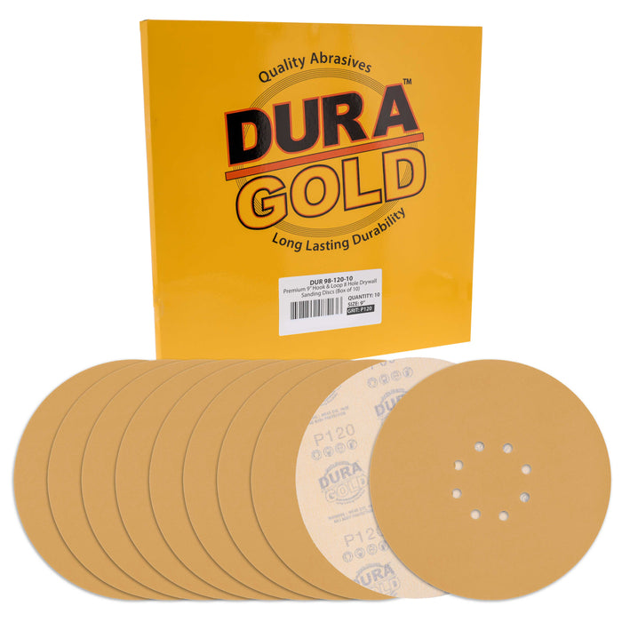 "Dura-Gold Premium 9"" Drywall Sanding Discs - 120 Grit (Box of 10) - 8 Hole Pattern Hook & Loop Aluminum Oxide Sandpaper - For Power Sander, Sand Wood"
