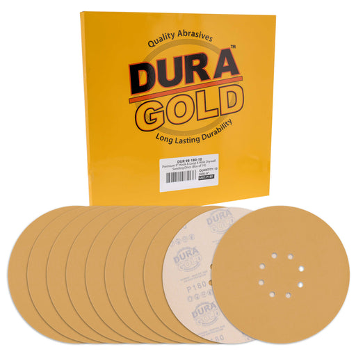 "Dura-Gold Premium 9"" Drywall Sanding Discs - 180 Grit (Box of 10) - 8 Hole Pattern Hook & Loop Aluminum Oxide Sandpaper - For Power Sander, Sand Wood"