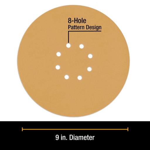"Dura-Gold Premium 9"" Drywall Sanding Discs - 240 Grit (Box of 10) - 8 Hole Pattern Hook & Loop Aluminum Oxide Sandpaper - For Power Sander, Sand Wood"