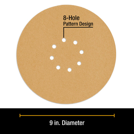 "Dura-Gold Premium 9"" Drywall Sanding Discs - 60 Grit (Box of 8) - 8 Hole Pattern Hook & Loop Aluminum Oxide Sandpaper - For Power Sander, Sand Wood"