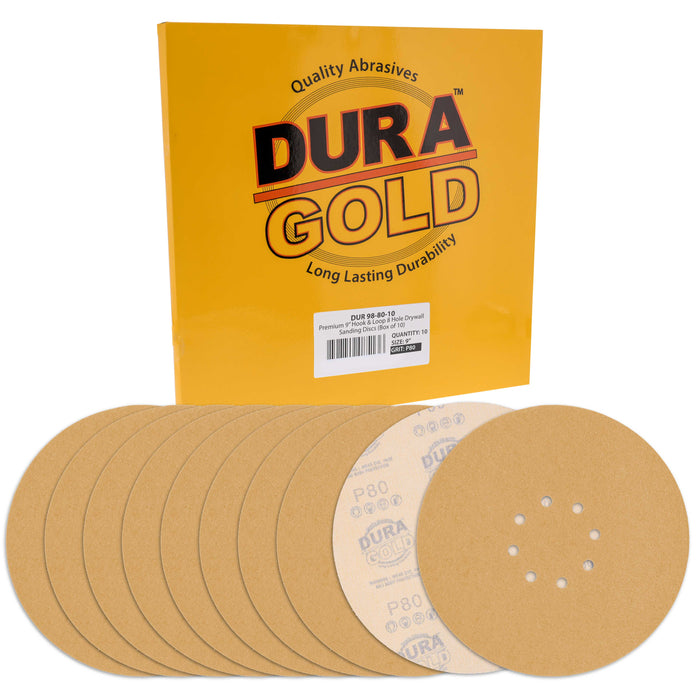 "Dura-Gold Premium 9"" Drywall Sanding Discs - 80 Grit (Box of 10) - 8 Hole Pattern Hook & Loop Aluminum Oxide Sandpaper - For Power Sander, Sand Wood"