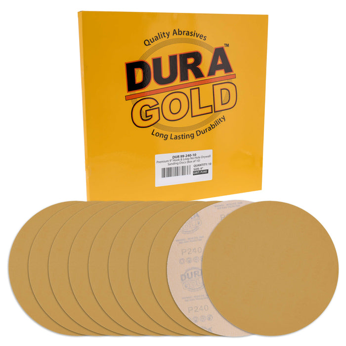 "Dura-Gold Premium 9"" Drywall Sanding Discs, 240 Grit (Box of 10), Sandpaper Discs with Hook & Loop Backing, Aluminum Oxide Abrasive, For Power Sanders"