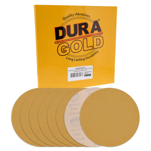 "Dura-Gold Premium 9"" Drywall Sanding Discs, 60 Grit (Box of 8), Sandpaper Discs with Hook & Loop Backing, Aluminum Oxide Abrasive, For Power Sanders"