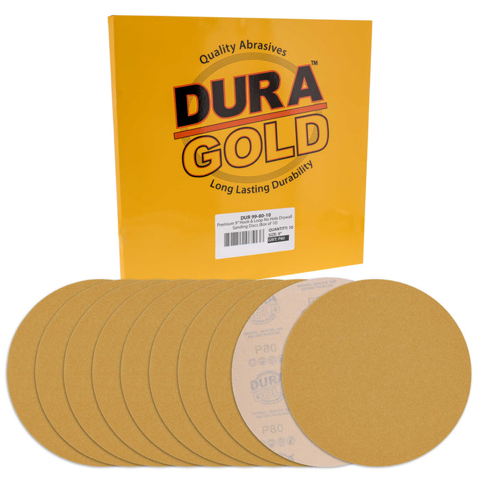 "Dura-Gold Premium 9"" Drywall Sanding Discs, 80 Grit (Box of 10), Sandpaper Discs with Hook & Loop Backing, Aluminum Oxide Abrasive, For Power Sanders"