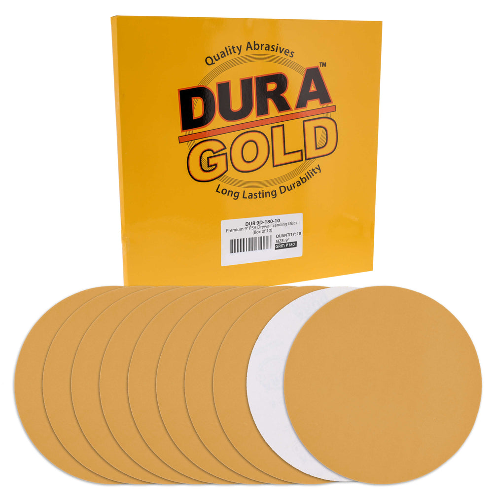 "Dura-Gold Premium 9"" PSA Drywall Sanding Discs - 180 Grit (Box of 10) - Self Adhesive Aluminum Oxide Abrasive Sandpaper - For Drywall Power Sander"