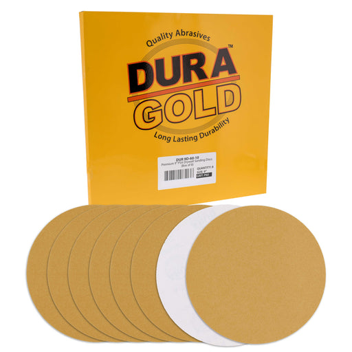 "Dura-Gold Premium 9"" PSA Drywall Sanding Discs - 60 Grit (Box of 8) - Self Adhesive Aluminum Oxide Abrasive Sandpaper - For Drywall Power Sander"