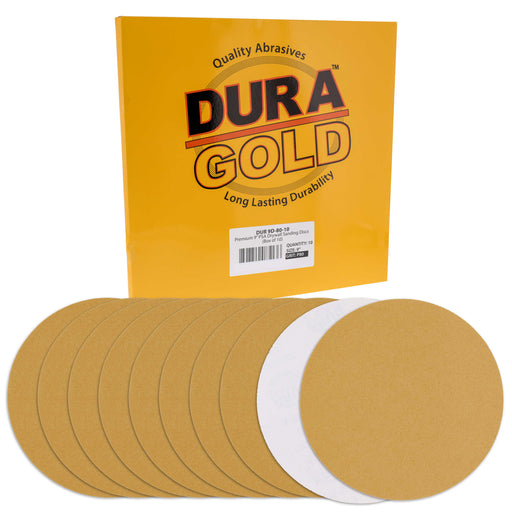 "Dura-Gold Premium 9"" PSA Drywall Sanding Discs - 80 Grit (Box of 10) - Self Adhesive Aluminum Oxide Abrasive Sandpaper - For Drywall Power Sander"
