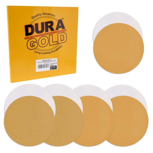 "Dura-Gold Premium 9"" Drywall PSA Sanding Discs Variety Pack Box - 60, 80, 120, 180, 240 Grit (2 Each, 10 Total) - Self Adhesive Sandpaper For Sander"