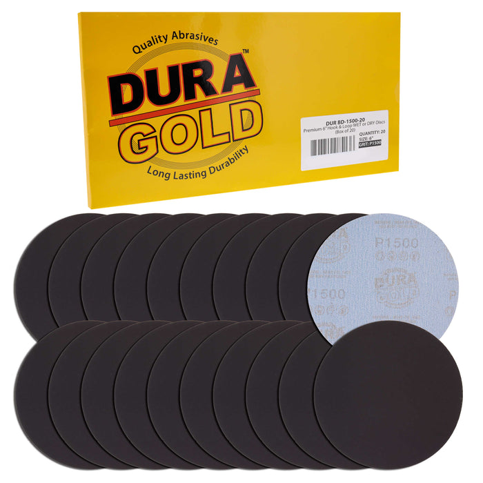 "Dura-Gold Premium 6"" Wet or Dry Sanding Discs - 1500 Grit (Box of 20) - Sandpaper Discs, Hook & Loop Backing, Silicon Carbide Cutting - Orbital Sander"
