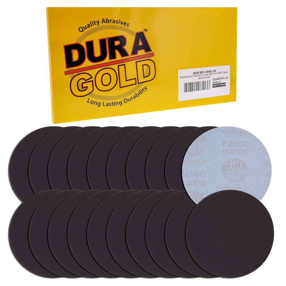 "Dura-Gold Premium 6"" Wet or Dry Sanding Discs - 2000 Grit (Box of 20) - Sandpaper Discs, Hook & Loop Backing, Silicon Carbide Cutting - Orbital Sander"
