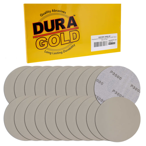 "Dura-Gold Premium 6"" Wet or Dry Sanding Discs - 3000 Grit (Box of 20) - Sandpaper Discs, Hook & Loop Backing, Silicon Carbide Cutting - Orbital Sander"