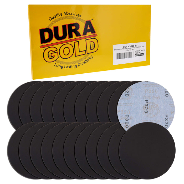 "Dura-Gold Premium 6"" Wet or Dry Sanding Discs - 320 Grit (Box of 20) - Sandpaper Discs, Hook & Loop Backing - Silicon Carbide Cutting - Orbital Sander"