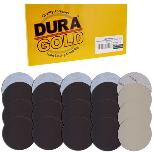 "Dura-Gold Premium 6"" Wet or Dry Sanding Disc Variety Pack Box - 600, 1000, 1500, 2000 & 3000 Grit (4 Discs Each, 20 Total) - Hook & Loop Backing, Sand"