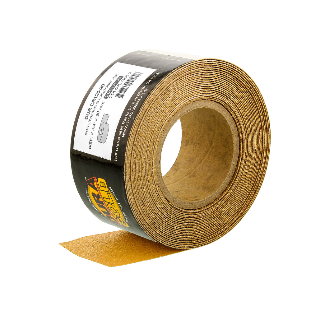 "120 Grit Gold - Longboard Continuous Roll PSA Stickyback Self Adhesive Sandpaper 20 Yards Long by 2-3/4"" Wide"