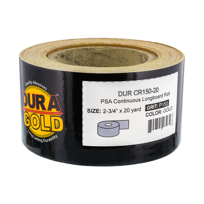 "150 Grit Gold - Longboard Continuous Roll PSA Stickyback Self Adhesive Sandpaper 20 Yards Long by 2-3/4"" Wide"