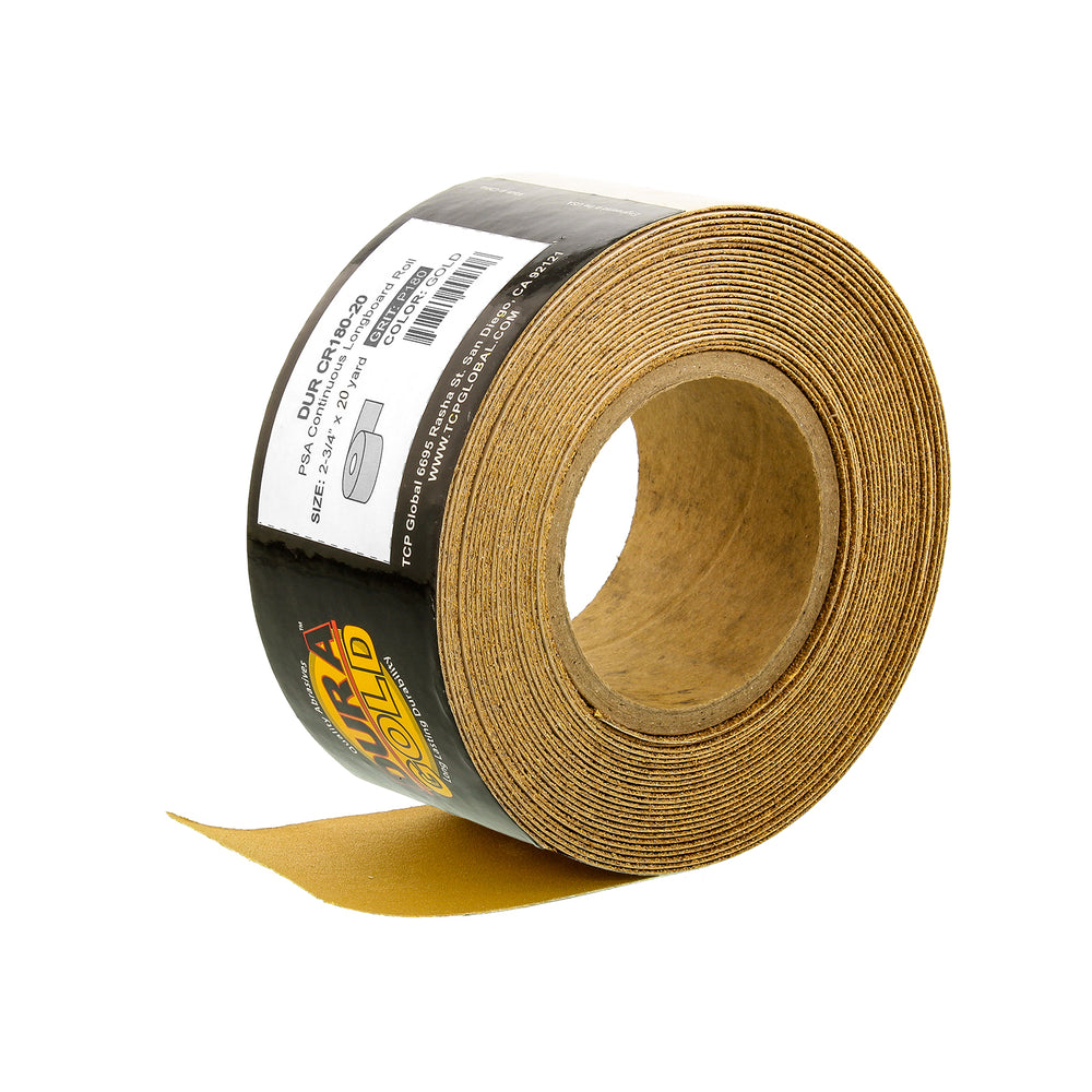 "180 Grit Gold - Longboard Continuous Roll PSA Stickyback Self Adhesive Sandpaper 20 Yards Long by 2-3/4"" Wide"