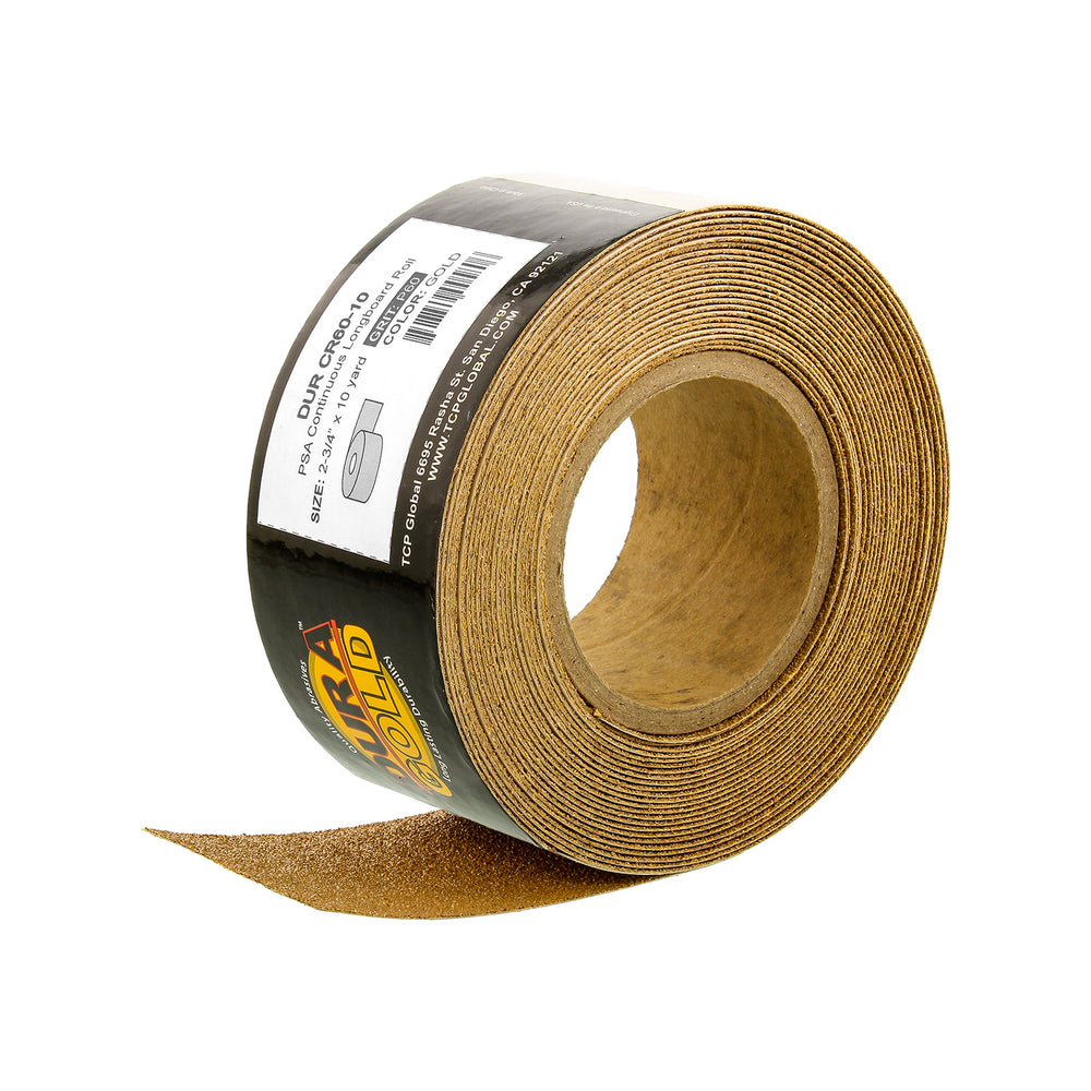 "60 Grit Gold - Longboard Continuous Roll PSA Stickyback Self Adhesive Sandpaper 10 Yards Long by 2-3/4"" Wide"