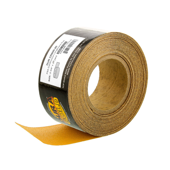 "800 Grit Gold - Longboard Continuous Roll PSA Stickyback Self Adhesive Sandpaper 20 Yards Long by 2-3/4"" Wide"
