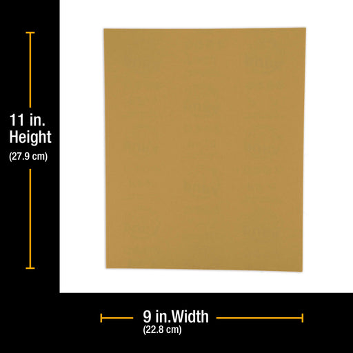 "1000 Grit, Full Size 9"" x 11"" Sheets, Wood Workers Gold - Box of 10 Sheets - Hand Sand Block Sanding, Cut to Use On Sanders"