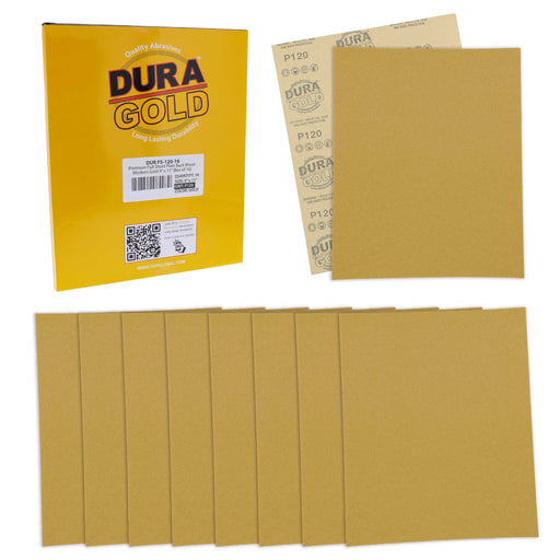 "120 Grit, Full Size 9"" x 11"" Sheets, Wood Workers Gold - Box of 10 Sheets - Hand Sand Block Sanding, Cut to Use On Sanders"