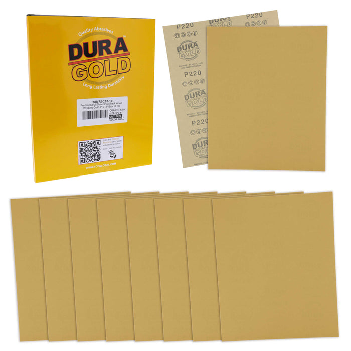 "Dura-Gold Premium Sandpaper 220 Grit, Full Size 9"" x 11"" Sheets, Wood Workers Gold - Box of 10 Sheets - Hand Sand Block Sanding, Cut to Use On Sanders"