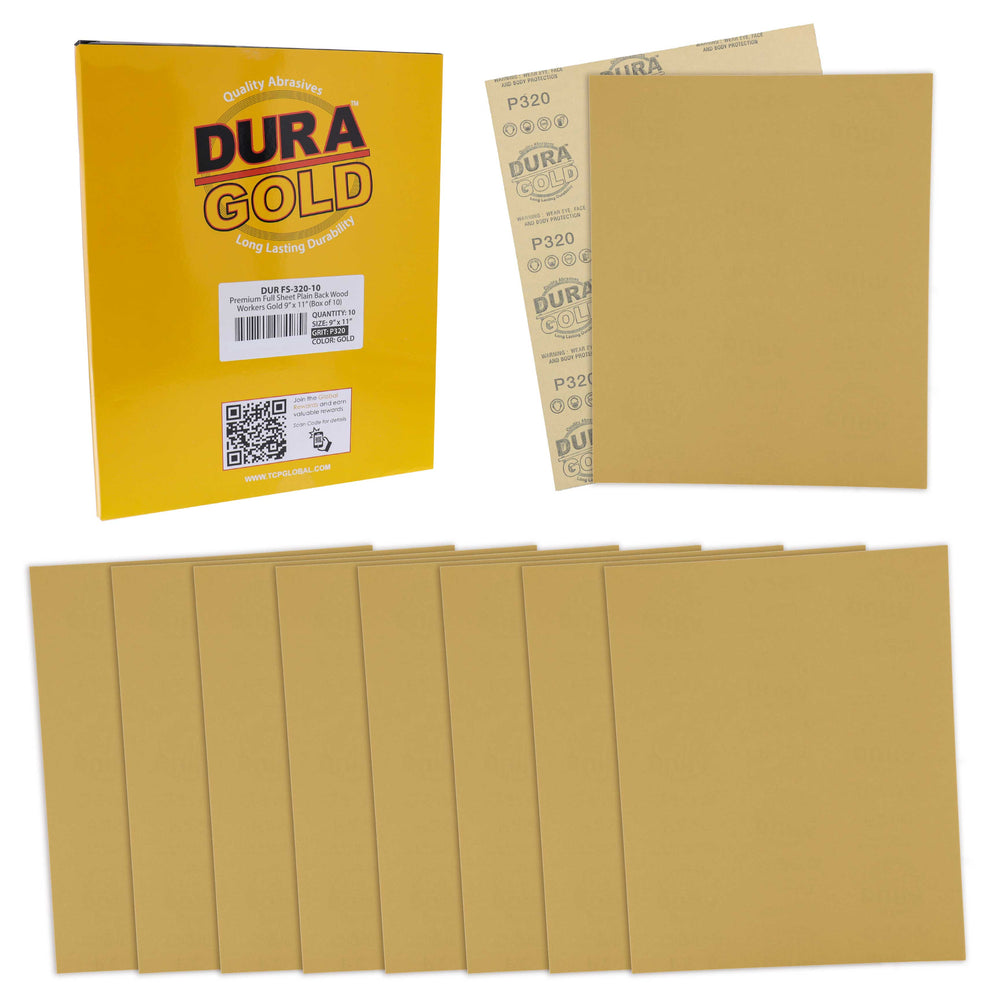 "Dura-Gold Premium Sandpaper 320 Grit, Full Size 9"" x 11"" Sheets, Wood Workers Gold - Box of 10 Sheets - Hand Sand Block Sanding, Cut to Use On Sanders"