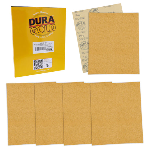 "40 Grit, Full Size 9"" x 11"" Sheets, Wood Workers Gold - Box of 6 Sheets - Hand Sand Block Sanding, Cut to Use On Sanders"