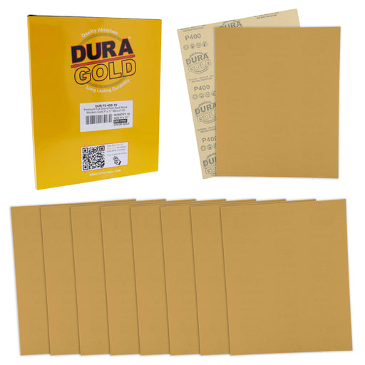 "400 Grit, Full Size 9"" x 11"" Sheets, Wood Workers Gold - Box of 10 Sheets - Hand Sand Block Sanding, Cut to Use On Sanders"