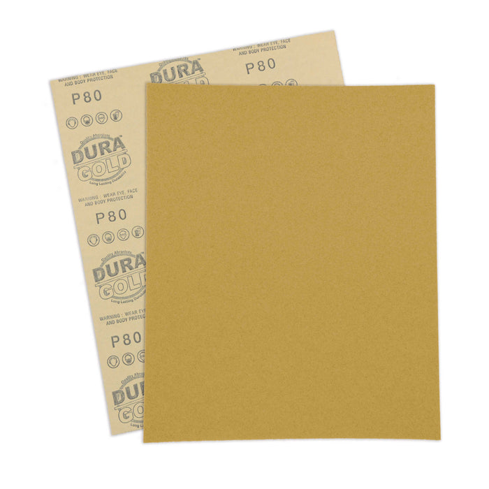 "80 Grit, Full Size 9"" x 11"" Sheets, Wood Workers Gold - Box of 10 Sheets - Hand Sand Block Sanding, Cut to Use On Sanders"