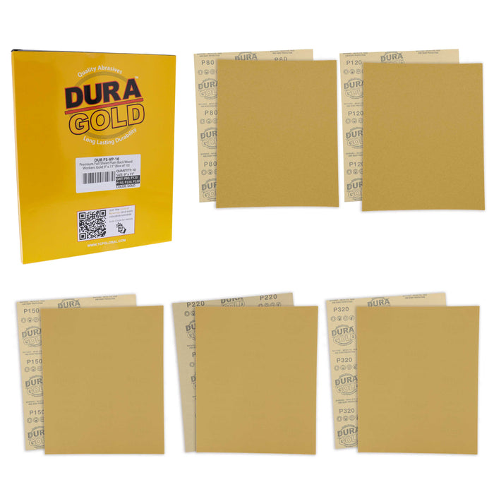 "Full Size 9"" x 11"" Sheet Variety Pack - 80, 120, 150, 220 & 320 Grit (2 Sheets Each, 10 Total) - Wood Workers Gold, Sander"
