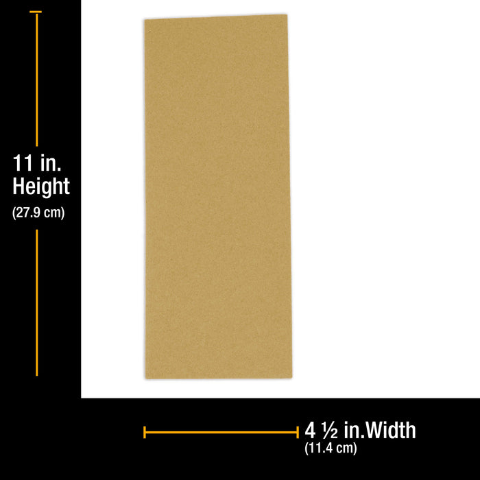 "100 Grit - 1/2 Sheet Size Wood Workers Gold, 4-1/2"" x 11"" with Hook & Loop Backing - Box of 16 Sheets - Hand Sand Sander"