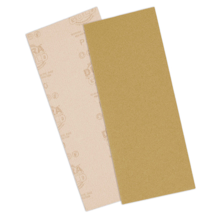"800 Grit - 1/2 Sheet Size Wood Workers Gold, 4-1/2"" x 11"" with Hook & Loop Backing - Box of 16 Sheets - Hand Sand Sander"