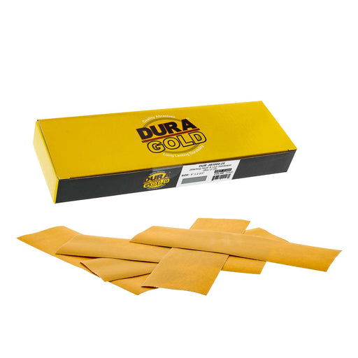 "Dura-Gold - Premium - 1000 Grit Gold - Jitterbug Hook & Loop Sandpaper 9"" x 2-2/3"" for Automotive & Woodworking - Box of 25"