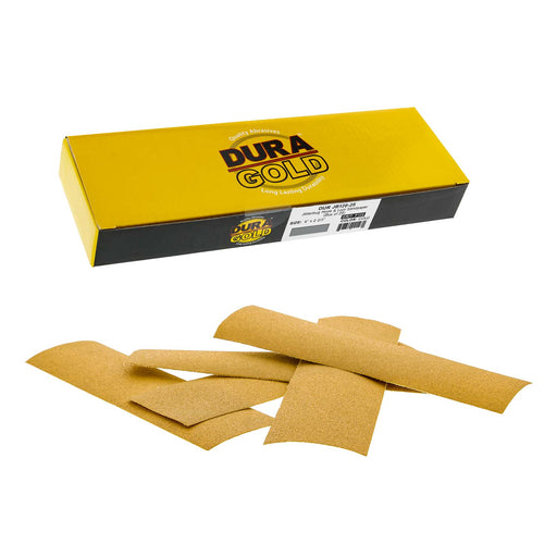 "Dura-Gold - Premium - 120 Grit Gold - Jitterbug Hook & Loop Sandpaper 9"" x 2-2/3"" for Automotive & Woodworking - Box of 25"