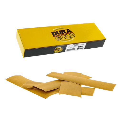 "220 Grit - Gold - Hand Sanding Sandpaper Sheets Hook & Loop 9"" x 2-2/3"" - Box of 25"