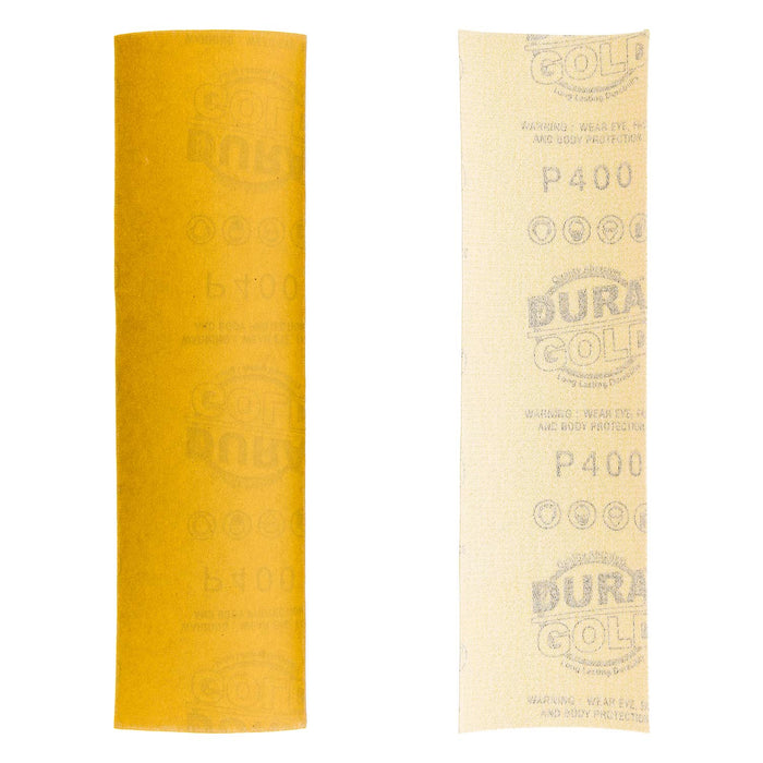 "400 Grit - Gold - Hand Sanding Sandpaper Sheets Hook & Loop 9"" x 2-2/3"" - Box of 25"