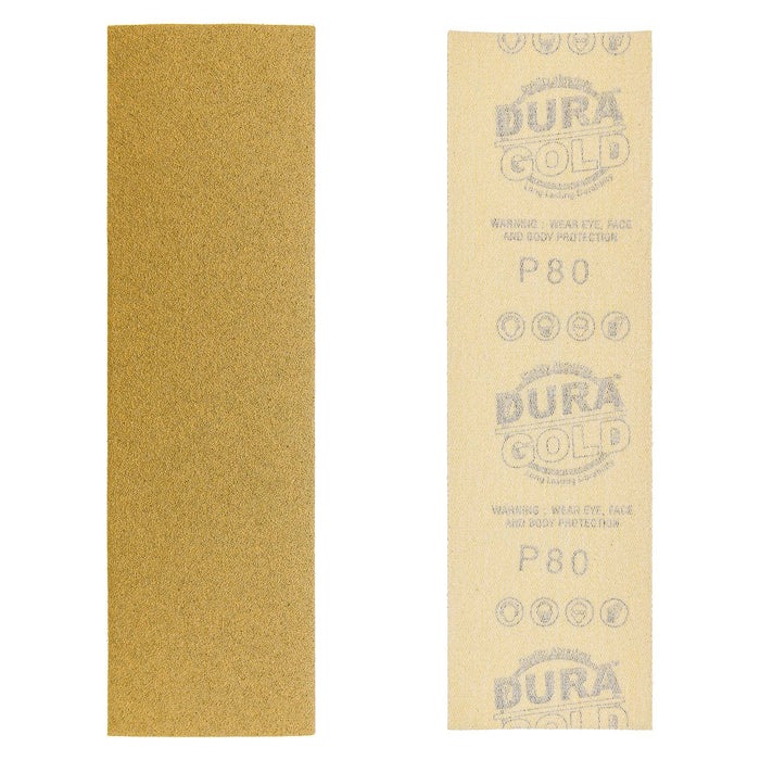 "80 Grit - Gold - Hand Sanding Sandpaper Sheets Hook & Loop 9"" x 2-2/3"" - Box of 25"