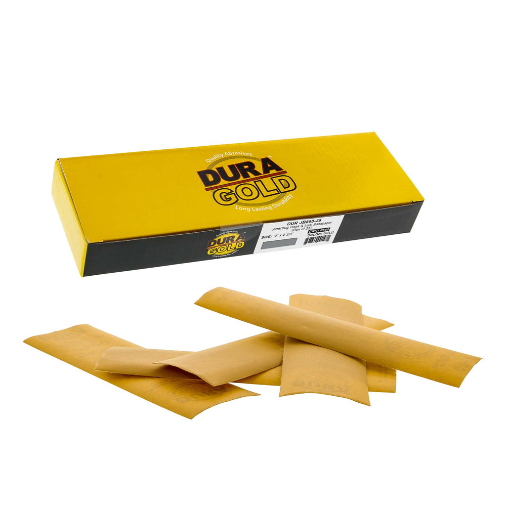 "800 Grit - Gold - Hand Sanding Sandpaper Sheets Hook & Loop 9"" x 2-2/3"" - Box of 25"