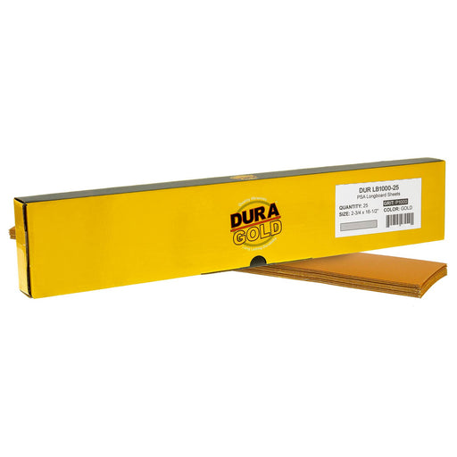 "1000 Grit - Gold - Longboard Sheets 2-3/4"" wide by 16-1/2"" long - PSA Self Adhesive Stickyback Sandpaper - Box of 20"