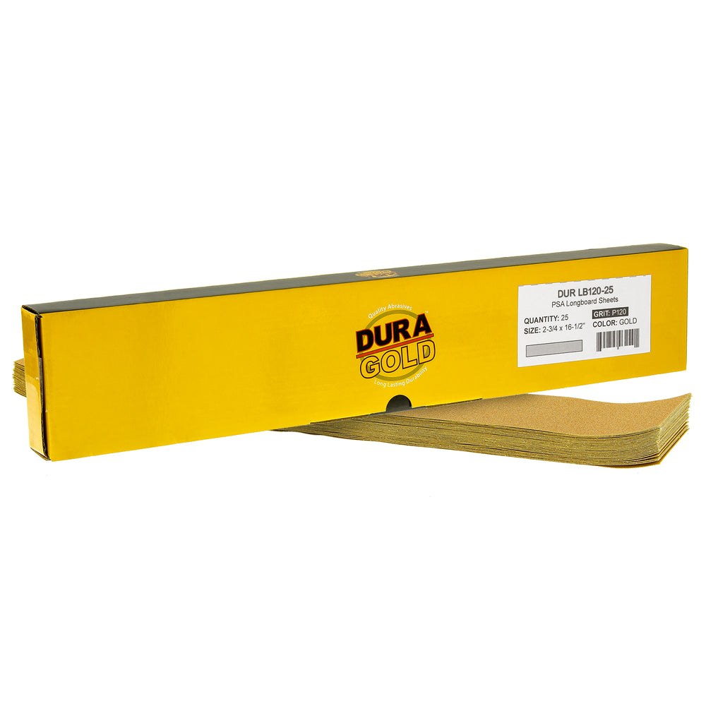 "120 Grit - Gold - Longboard Sheets 2-3/4"" wide by 16-1/2"" long -  PSA Self Adhesive Stickyback Sandpaper  - Box of 25"