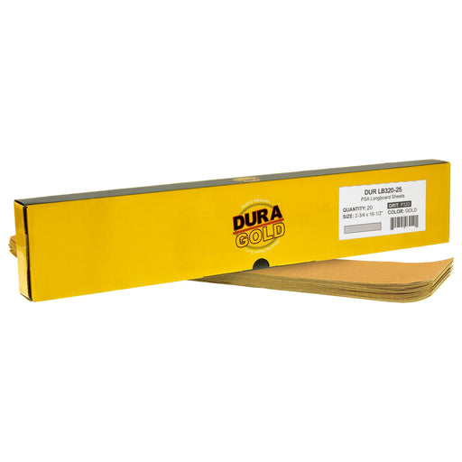 "320 Grit - Gold - Longboard Sheets 2-3/4"" wide by 16-1/2"" long - PSA Self Adhesive Stickyback Sandpaper - Box of 20"