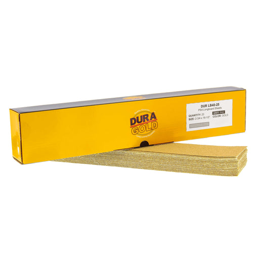 "40 Grit - Gold - Longboard Sheets 2-3/4"" wide by 16-1/2"" long - PSA Self Adhesive Stickyback Sandpaper - Box of 20"