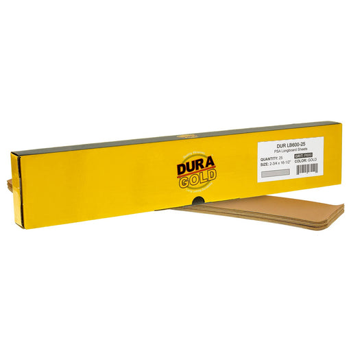 "600 Grit - Gold - Longboard Sheets 2-3/4"" wide by 16-1/2"" long - PSA Self Adhesive Stickyback Sandpaper - Box of 20"